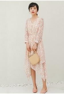 Buy Sophialuv Kimmi Drawstring Midi Dress In Blue Floral