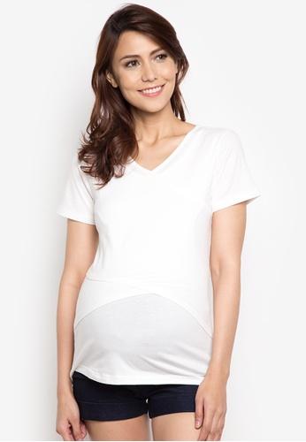 Mamaway white Cotton Soft V-neck Maternity and Nursing Tee MA263AA38TFPPH_1