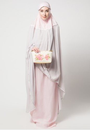 Aira Muslim Butik pink and grey Anne Prayer Set With Decopage Bag AI892AA53CBUID_1