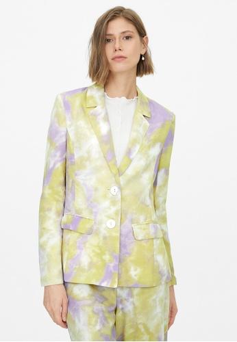 Pomelo purple Double Button Tie Dye Blazer - Purple CB545AAD358840GS_1