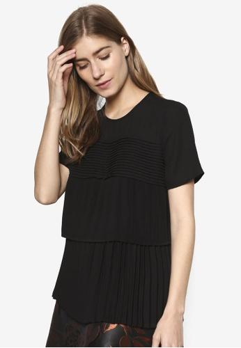 WAREHOUSE black Pleated Tee Shirt WA653AA39ZNGMY_1
