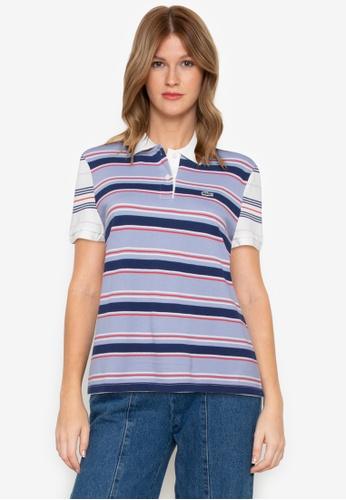 Women's Multicolor Striped Polo Shirt
