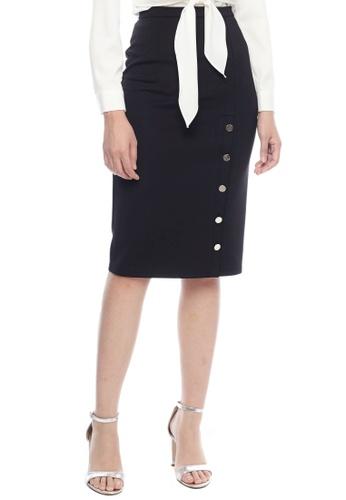 Nichii black Side Buttoned Slit Pencil Skirt 10452AA137289DGS_1