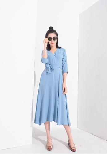 Zafiti blue V Neckline Blue Dress 82ED2AABE7DF83GS_1