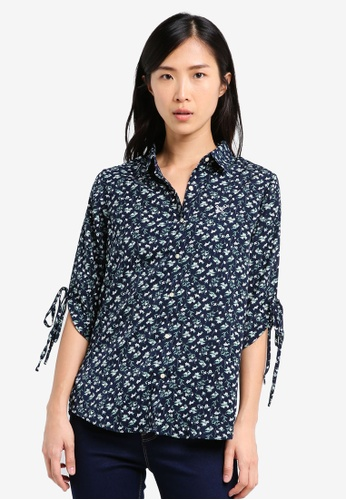 REGATTA blue and navy Crepe Shirt With Side Slit RE699AA0SN1XMY_1