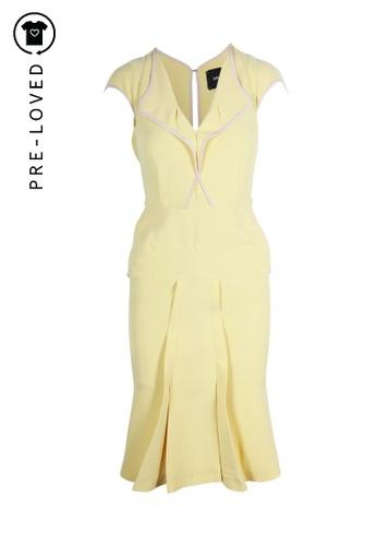 Roland Mouret yellow Pre-Loved roland mouret Lemon Yellow Paneled Crêpe Dress 497BEAAF66D6E6GS_1