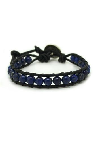 Fur Nyce blue Lapis Lazuli Single Wrap Men's Leather Bracelet FU779AC75WTOMY_1