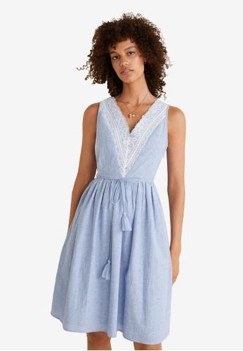 Mango blue Lace Cotton Dress 4857BAA8A618F5GS_1