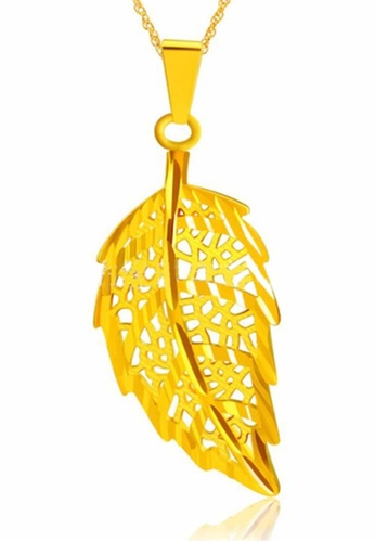 YOUNIQ gold YOUNIQ Premium Lucky Leaf 24K Gold Plated Pendant YO999AC0S96UMY_1
