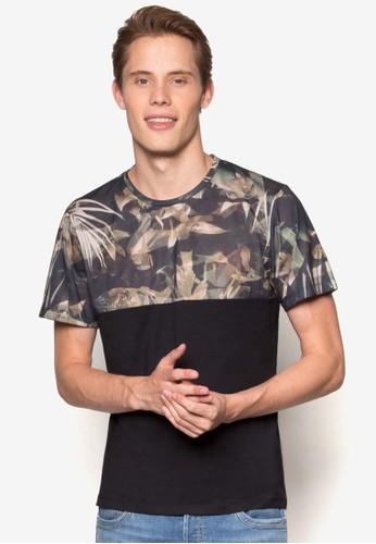 迷彩印花拼接T 恤、 服飾、 服飾BurtonMenswearLondon迷彩印花拼接T恤最新折價