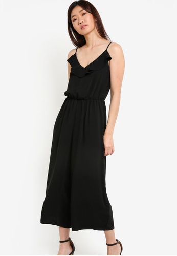 Dorothy Perkins black Petite Black Ruffle Jumpsuit DO816AA51PPWMY_1