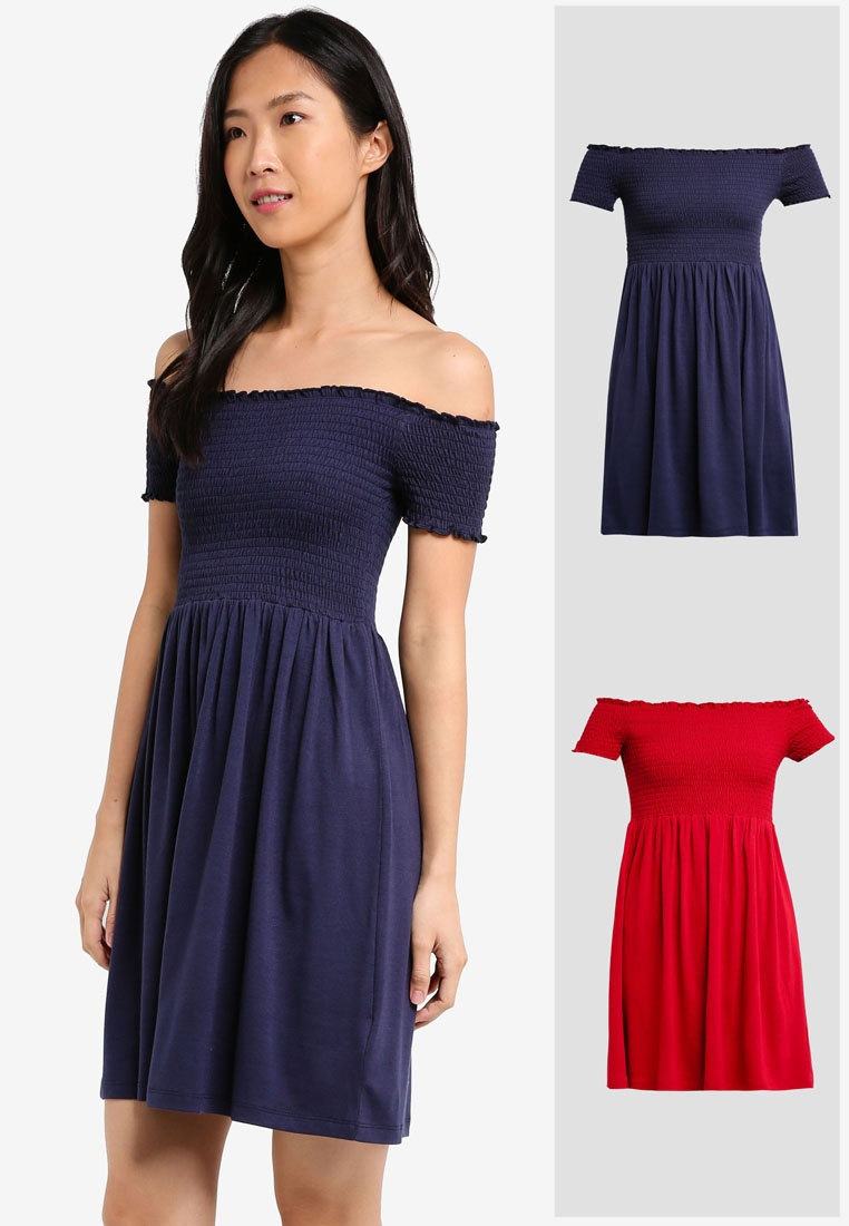 BASICS Dress Essential 2 Navy Pack ZALORA Burgundy Smocked W7WzcA4