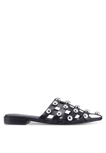 Public Desire 黑色 鉚釘尖頭穆勒鞋 4E8BDSHA144C84GS_1