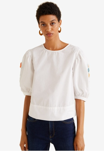 Mango white Embroidered Cotton Blouse 9F766AAD5A7DADGS_1