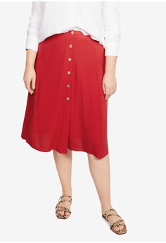 1ae419d129 Violeta by MANGO red Plus Size Side Buttoned Skirt E2495AAC31D8D2GS_1