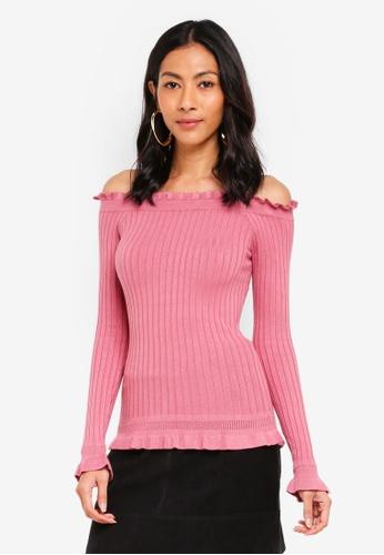 cccd224f7ffb6 Buy Miss Selfridge Bardot Frill Hem Rib Knitted Top Online on ZALORA ...