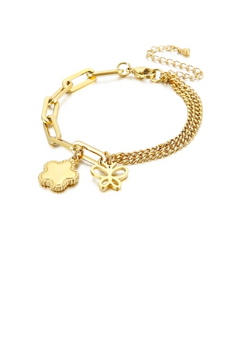 Glamorousky silver Fashion and Elegant Plated Gold Butterfly Flower 316L Stainless Steel Bracelet 01A87AC0FC15ACGS_1