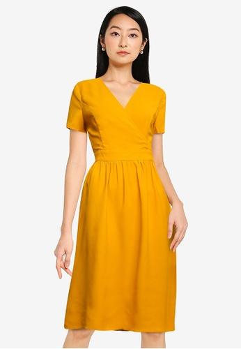 ZALORA BASICS yellow Ruched Waist Wrap Dress 5AC0CAAB58F3A1GS_1