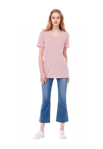 G-CUT red Striped T-Shirt With Patch Pocket E686EAAB8DFA6BGS_1