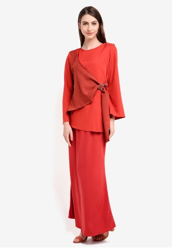 Gene Martino red Side Knot Kurung Modern EC2DAAA73C36B4GS_1