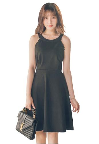 Yoco black Open Cold Shoulder Dress 13EFBAA02C5B87GS_1