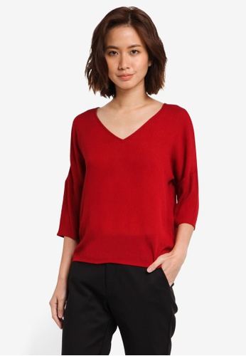 ZALORA red Essential V Neck Top B365FZZC9F6BBAGS_1