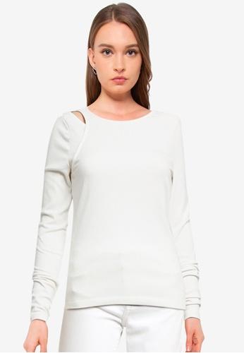 Vero Moda white Ruth Long Sleeve Asymmetrical Top E8E53AAE16C371GS_1