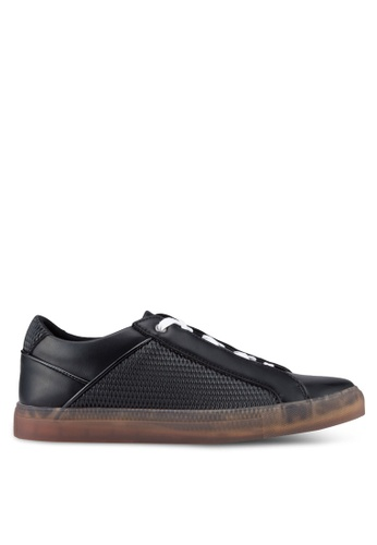 ZALORA black Perforatate Detailed Faux Leather Sneakers 81674SH60F8467GS_1