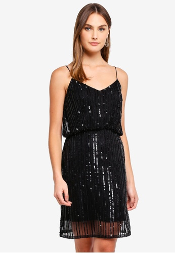 201711d37c75 French Connection black Aster Shine Strappy Embellished Dress  49D21AA2758724GS_1