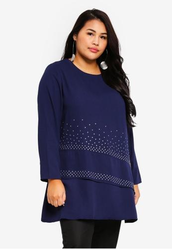 BYN blue Plus Size Muslimah Blouse 7D48CAAC7C6A78GS_1