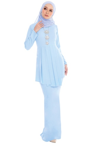 SARIMA white and blue Kurung Pleated Muslimah Fashion Baby Blue 9F8FAAAE407970GS_1