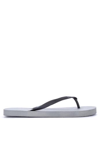 Penshoppe grey Rubber Flip Flops 5D82ESH0DA526AGS_1