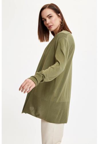DeFacto 綠色 Long Sleeve Tunic Cardigan CBA49AA1868FD5GS_1