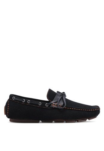 UniqTee black Strap and Lace Driving Moccasins C2E50SHAFF4E69GS_1