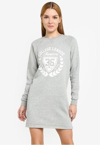 JACQUELINE DE YONG grey Venus Print Sweat Dress 59BF3AAA3A6202GS_1