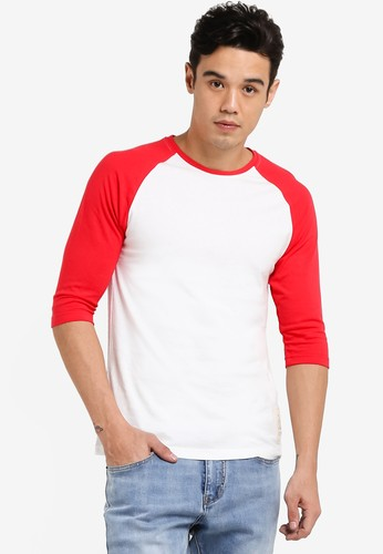JAXON white and red 3/4 SLEEVE RAGLAN LOGO TEE 9B906AA7C4F567GS_1