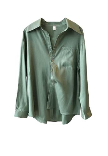 Twenty Eight Shoes green VANSA Shiny Satin Long Sleeve Shirts  VCW-Sh0301 2401DAA5B94326GS_1