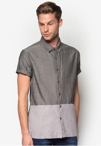 色塊esprit暢貨中心修身短袖襯衫, 服飾, 素色襯衫