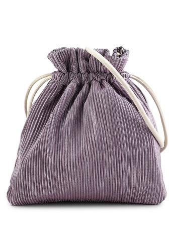 Heather purple Ribbed Drawcord Handbag DCED5AC5DCD59FGS_1