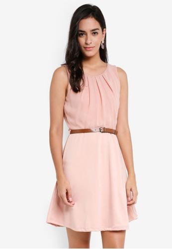 Vero Moda pink Lucy Belt Short Dress 9D8D6AAE49DCE7GS_1