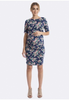 1b86634bae7fb Maive & Bo blue Luella Maternity Dress in Navy Pink B7330AA0FB5800GS_1