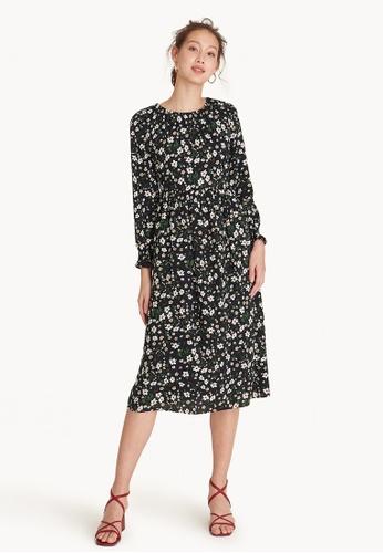 Buy Pomelo Midi Long Sleeve Floral Dress - Black Online on ZALORA ... 5d4c454e7