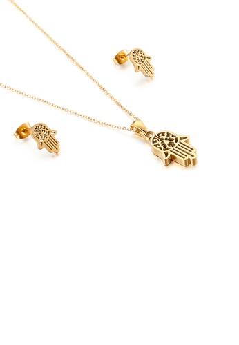 Glamorousky 銀色 時尚創意鍍金色哈薩姆手掌316L鋼項鏈和耳釘套裝 C3761AC0CED3B8GS_1