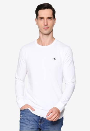 Abercrombie & Fitch white Long Sleeves Icon Crew Tee 3200AAA380923DGS_1