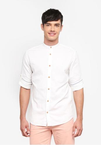 Jack & Jones 白色 長袖中山領襯衫 3E988AAC93A070GS_1