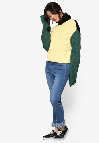 色塊拼接高領針織esprit台灣門市長袖衫, 服飾, 外套