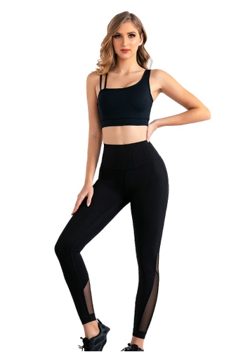 B-Code black ZUU3016-Lady Quick Drying Running Fitness Yoga Leggings-Black E0A9DAAE888FFAGS_1