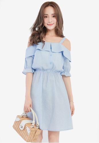 YOCO blue Checkered Cold Shoulder Dress YO696AA0SAIGMY_1