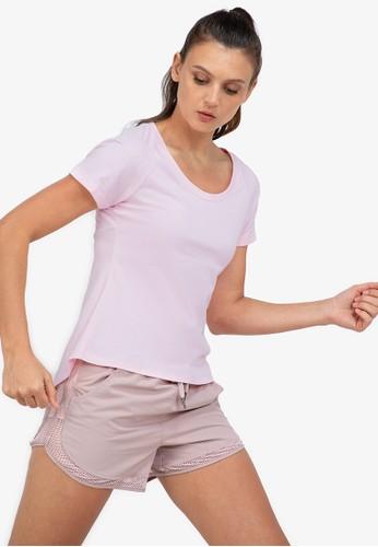 ZALORA ACTIVE pink Open Back Slit Short Sleeve T-Shirt AE6D0AA10AE6B3GS_1