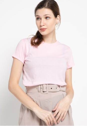 Tolliver pink Round Neck Basic Short Sleeve Tee D835EAA0E0263DGS_1